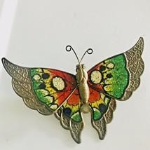 Cloisonne Monarch Butterfly Brooch Pin Bronze Tone Multi Color J0630 - $7.60