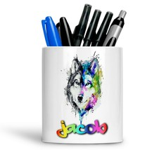 Personalised Any Text Name Ceramic Wolf Pencil Pot Gift Idea Kids Adults 14 - $12.89