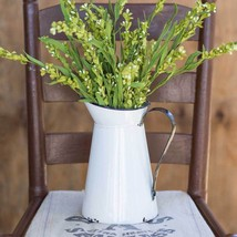 Small Metal Milk Pitcher Plant Holder Vintage White Enamelware Finish Fa... - ₹2,846.74 INR