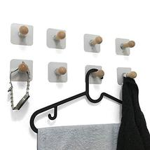 VTurboWay 8 Pack Adhesive Wall Hooks, No Drills Wooden Hat Hooks, Storage Wall M image 8