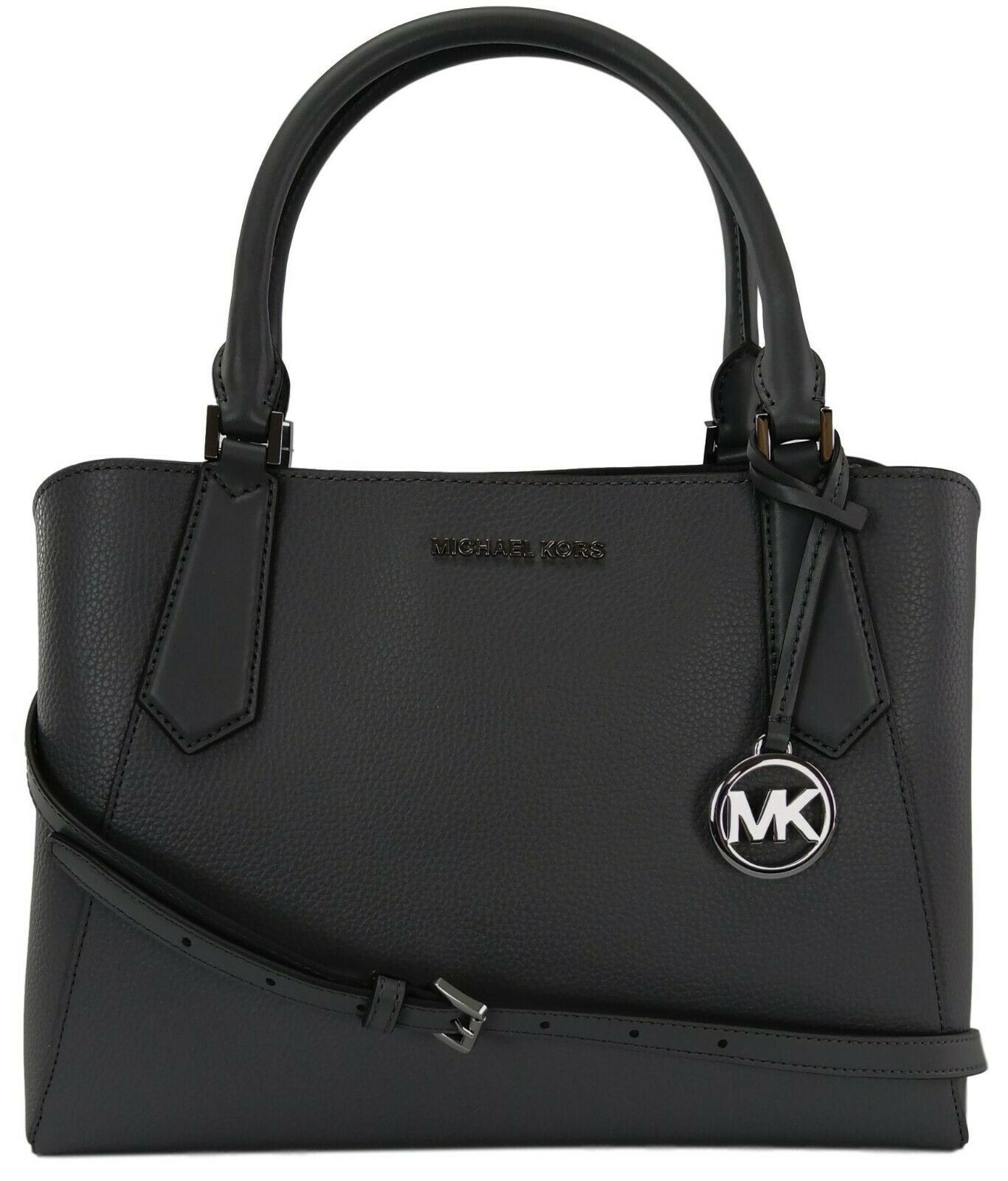 Michael Kors Satchel Top Handle Heather Grey Leather Kimberly Bag - $393.86