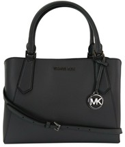 Michael Kors Satchel Top Handle Heather Grey Leather Kimberly Bag - $393.86