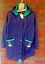 Vintage Rain Jacket Medium Blue Green Shoulder Pads Zipper CS Essentials... - $34.30
