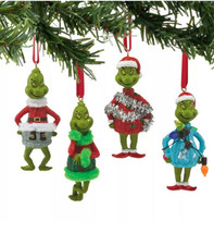 Dept 56 Grinch 2015 Grinch In Ugly Sweater Ornament Set/4 #4052908 NEW A... - $31.88