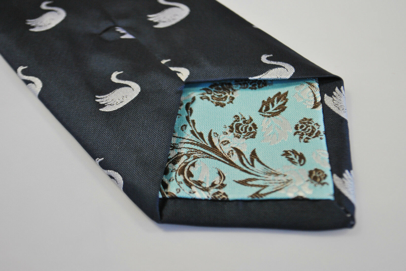 Frederick Thomas Navy Blue Mens Tie with Swan Pattern FT2122