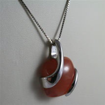 925 STERLING SILVER RHODIUM NECKLACE 17,72 In, RED AGATE PENDANT, VENETIAN MESH. image 3