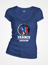 Soccer World Cup, Russia 2018, France Champion Theme, Women's V-Neck T-S... - $19.18+