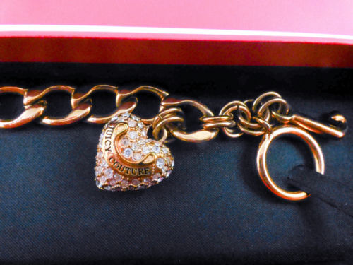 JUICY COUTURE Pave Crystal Puffy HEART CHARM Rose Gold Plated Link BRACELET-NWT