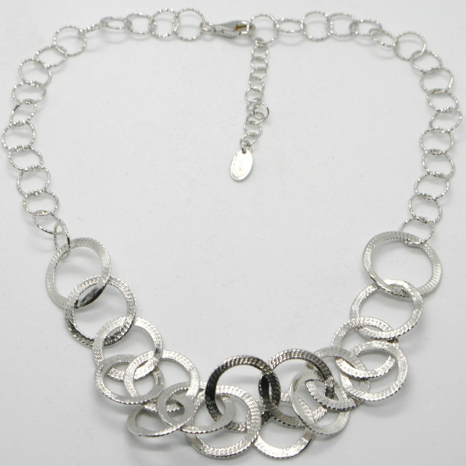 Choker Necklace Silver 925 with Circles Worked by Maria Ielpo , Made in Italy