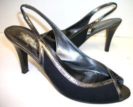 ELLEN TRACY Black Slingback Pumps Size 7 1/2 Shoes 7.5 - $10.80