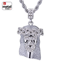 """Hip Hop Men's Rhodium Plated Iced Out CZ Jesus Pendant 24"""" Rope Chain HC... - $9.04"""