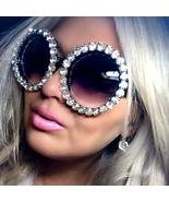 Oversize Sunglasses Women Round Vintage Luxury Rhinestone Glasses Mirror... - $22.99