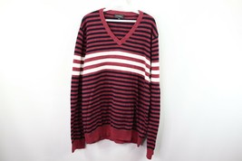 Express Mens XL Long Sleeve Casual Striped V-Neck Sweater Red White Cotton - $21.73