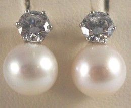 WHITE GOLD EARRINGS 750 18K WITH PEARLS WHITE AND ZIRCON, LONG 1.3 CM image 2