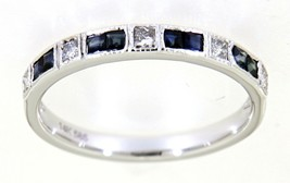 Blue Sapphire Gemstone 14K White Gold 0.36 Carat Wedding Diamond Band Je... - $1,445.00