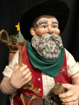 Fabric Mache' COWBOY SANTA 1999 Midwest Importers Country Western No Box... - $12.86