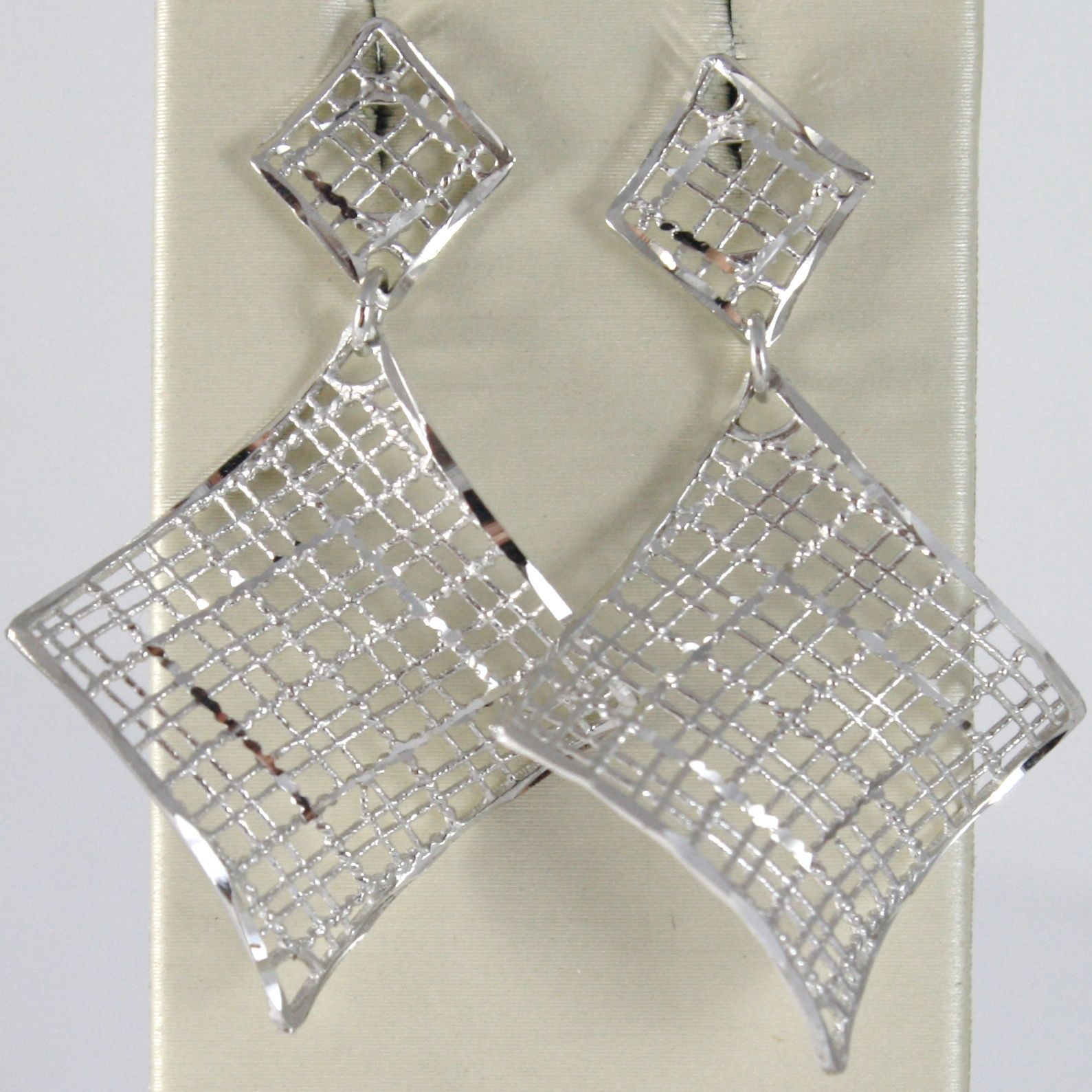 WHITE GOLD EARRINGS 750 18K HANGING 4.3 CM DOUBLE RHOMBUS WAVY AND WORKED