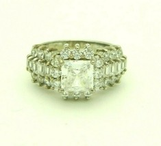 Sterling Silver .925 Clear CZ Cubic Zirconia Brilliant Cocktail Ring Size 7.25 - $49.49