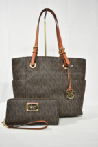 SET of Michael Kors Jet Set East West Travel Large Tote + Wallet in Brow... - $329.00