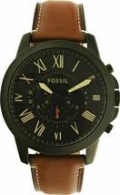Fossil Men's Grant FS5241 Brown Leather Strap Quartz Fashion Watch, NEW - £77.93 GBP