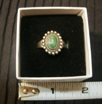 Vintage signed Sterling and Malachite ring - $14.52