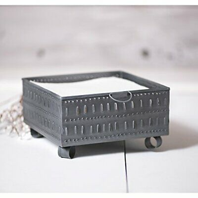 Primary image for Primitive Square Punched Metal Tin Cheese Mold Napkin Holder In Antique Silver