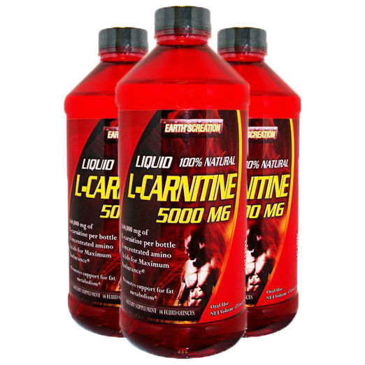Liquid L-Carnitine 5000 Mg, 16 Oz (32 Servings)  3 Pack by Earth's Creation, USA