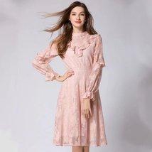 Spring new women's fashion temperament lantern sleeves lace flounced Slim dress - $39.00