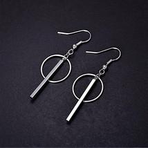 Simple Fashion 925 Sterling Silver Earrings Round Circle Strip Tassel E... - $11.21