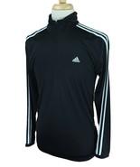 Adidas Men's 1/4 Zip Mock Neck 100% Lightweight Polyester Black Shirt Me... - $18.80