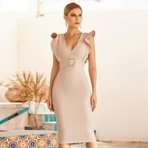 2021 New Summer Women Black Ruffles Bandage Dress Sexy Sleeveless Sash V Neck Ce
