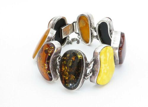 925 Sterling Silver - Vintage Baltic & Egg Yolk Amber Chunky Bracelet - B5824