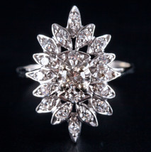 Vintage 1970's 14k White Gold Round Diamond Cluster Cocktail Floral Ring... - $1,190.00