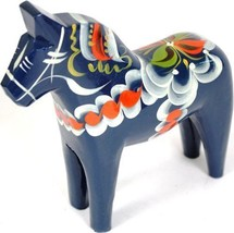 Traditional Dala Horse Wood Carving Home Decor Paperweight Blue Swedish ... - $124.95