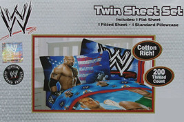 WWE WRESTLING MANIA PICTORIAL BLUE 3PC TWIN SHEETS  BEDDING SET NEW - $120.46
