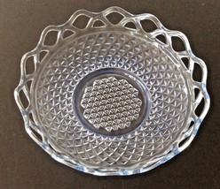 """Blue Imperial Glass, Belmont Pattern, 10 1/2"""" Round Bowl, Lace Edge - $18.00"""