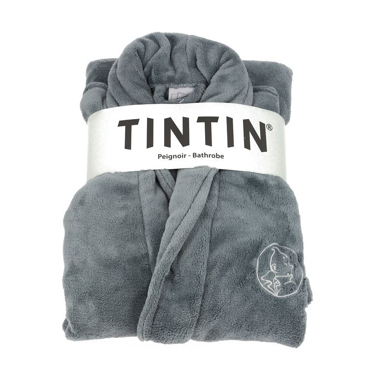 Tintin bathrobe grey steel One Size: Large-X-Large Official Tintin product
