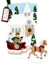 Bucilla Dashing Through the Snow Church Horse Christmas Felt Stocking Ki... - $38.95