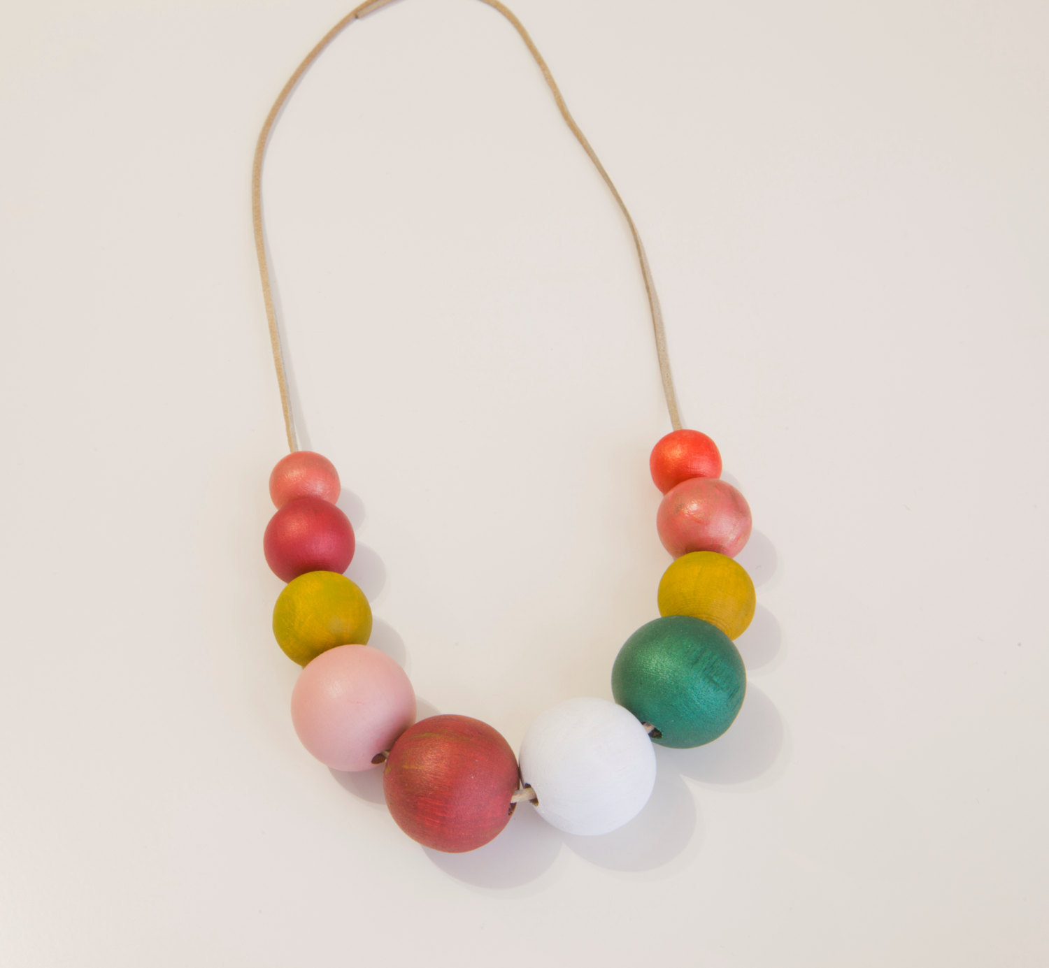 Wood necklace, Teal white coral pink necklace, chunky wooden beads, abstract nec