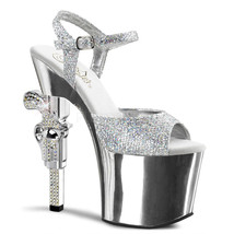 "PLEASER REV709G/SG/M Sexy Silver Chrome Platform Glitter 7"" Heels Stripper Shoes - $87.95"