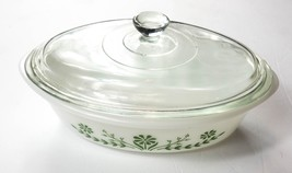 Jeannette Glasbake J235 Oval Covered Casserole 1 Qt Green Flowers With Lid - $15.99