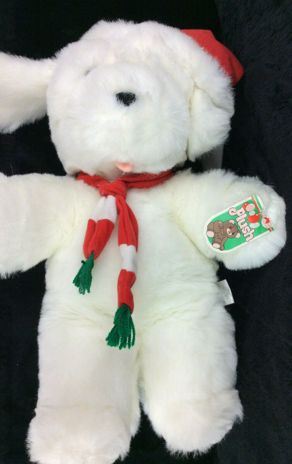 Commonwealth Puppy Dog White Merry Christmas Plush Stuffed Animal 1988 NEW 15""