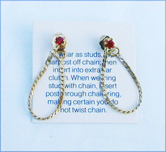 Avon earrings faux ruby studs worn with or without chain - $3.47
