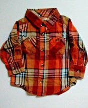 Old Navy Boys Orange & Yellow Plaid Shirts 12-18 Months Long Sleeves Lot... - $12.95