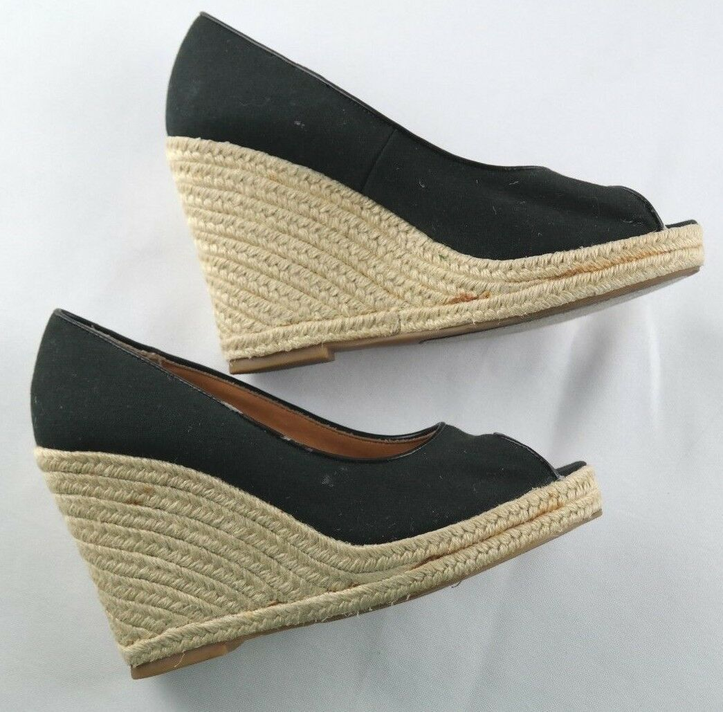 Steve Madden Peep Wedges Womens Size 6 Black Canvas Slip On High Heel Shoes image 7