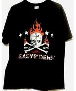 easyriders mens shirt Sz L Skull Flame Crossbones - $23.22