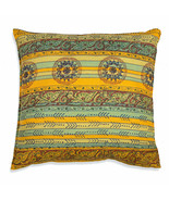 Farmhouse TRIBAL SUMMER COTTON EURO THROW PILLOW Country Southwestern Cu... - £34.25 GBP