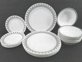 24 Corelle City Block (8) Dinner (8) Bread Plates (8) Cereal Bowls Corning Set - $148.17