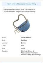 Steve Madden Drama Blue Denim Patch Convertible Belt Bag Crossbody Handbag - $77.22