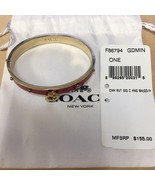 NWT Coach Enamel and Rivets Signature C Hinged Bangle Bracelet True Red Hot - $55.94